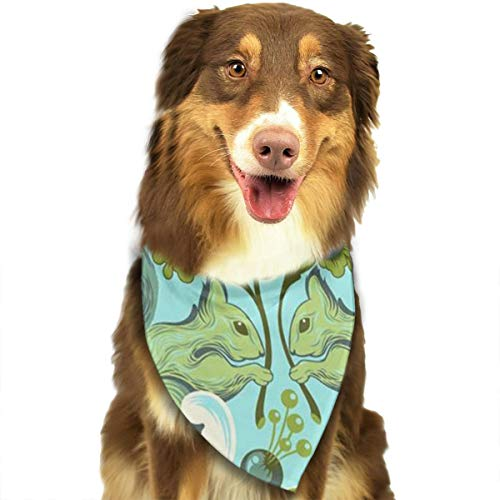 OURFASHION Squirrel and Floral Beautiful Bandana Triangle Bibs Scarfs Accessories for Pet Cats and Puppies.Size is About 27.6x11.8 Inches (70x30cm). -