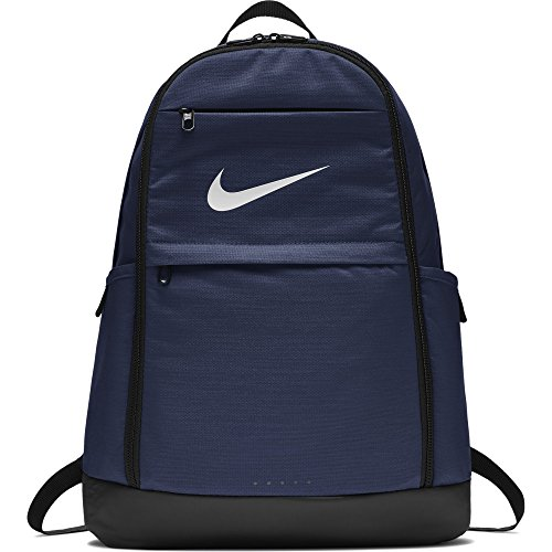Nike Brasilia Training Backpack, Extra Large Backpack Built for Secure Storage with a Durable Design, Midnight Navy/Black/White