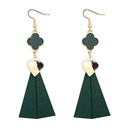 Waterfalls Copper Leaf (FenyDoller Wooden Retro Long Section Simple Fashion Four-Leaf Clover Earring (Green))