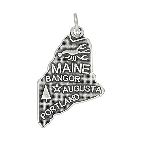 (Sterling Silver Oxidized Travel State Map of Maine Charm Pendant)