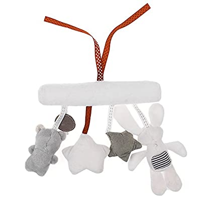 Baby Toys Cute Baby Mobile Musical Crib Bed Toy Newborn Bear Plush Stuffed Rattles for Stroller White: Clothing