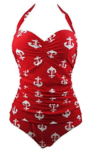 Cocoship Red 1950s Retro Vintage One Piece Monokini White Anchors Bathing Suit Swimwear L(FBA)