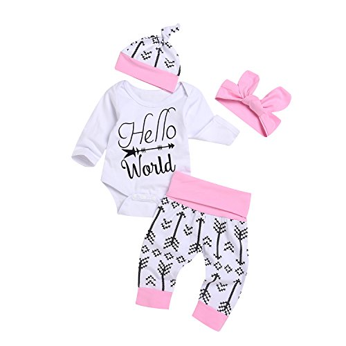 Baby Letter Bowknot Print Top Clothes Rompers Bodysuit (White) - 1