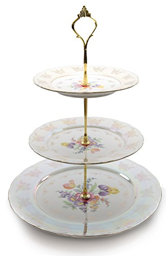 Royalty Porcelain 3-Tier Round Gold-plated Cake and Cupcake Stand, White Dessert Party Display Cake Set with Floral Pattern (Plate Royalty Cake)