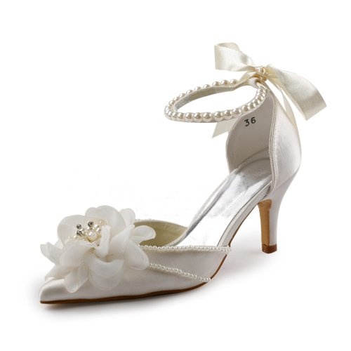 Minitoo Womens Pointy Toe High Heel Beading Ivory Satin Bridal Wedding Shoes Pump 7 M US