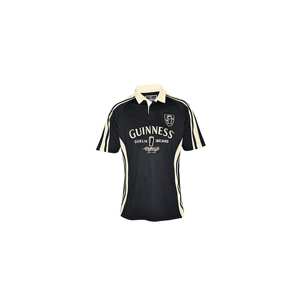 Guinness Arthur Signature Performance Rugby Jersey – Black and Cream Polyester Short Sleeve Polo Shirt
