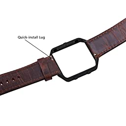KADES Fitbit Blaze Leather Retro Cowhide Bands + Stainless Steel Frame for Fitbit Blaze Smart Fitness Watch (Coffee Band + Black Frame)