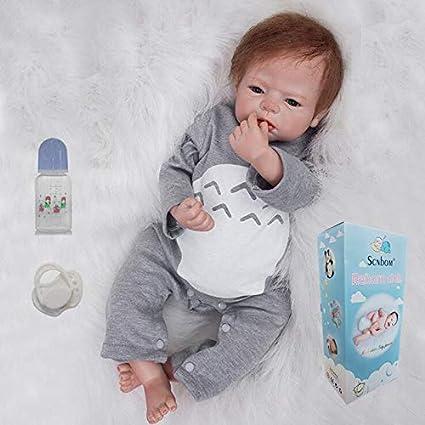 Zero Pam Reborn Baby Doll Boys 22 Inch 55cm Newborn Baby Dolls Blue Eyes Boys Soft Body Reborn Toddler Realistic Babies Silicone Baby Dolls Real Lifelike