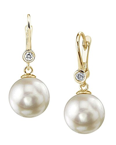 THE PEARL SOURCE 14k Gold 7.5-8 mm AAA Quality Round Genuine White Akoya Cultured Pearl & Diamond Michelle Earrings Set for ()