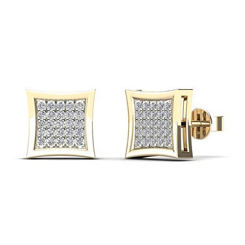 JewelAngel 14K Yellow Gold 1/5ct TDW Diamond Square Stud Earrings (H-I, I1-I2)