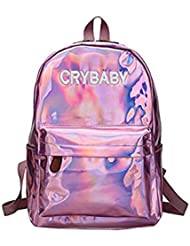 Yuns Holographic Laser Backpack Big Capacity Casual Travel Backpack PU Leather Casual Shoulder Bag (pink)