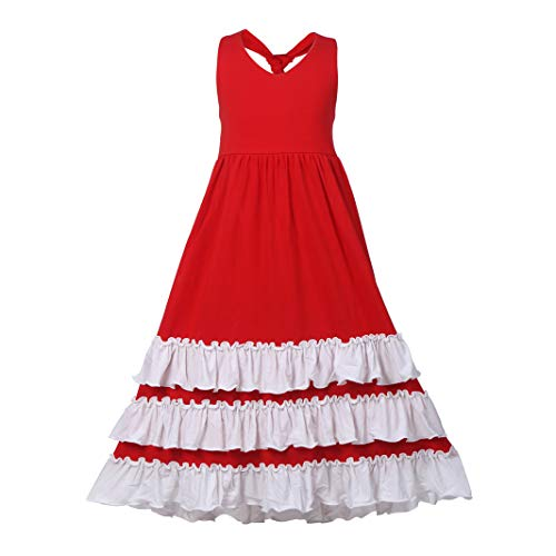 Girls Ruffles Maxi Dress Pink Color Halter Lace Fly Sleeve Cotton Party Dress Skirts (Backless Red, 4T) (Backless Skirt)