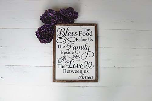 Bless the Food Prayer Wood Sign Farmhouse Home Decor