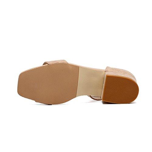 Boucle Mocassins 44 Sandales Talons Confortable JRenok Bout Été Respirant Hauts Cuir Sandales Ouvert Beige Loisir 35 Hq1wF4