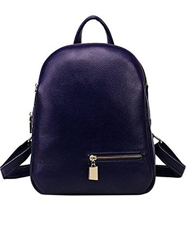 Menschwear Lady Genuine Leather Backpack moda di scuola della spalla dello zaino della Donne Bag Viola Blu Toma De Descuento Paquete De Cuenta Atrás El Envío Libre EXoA6IL