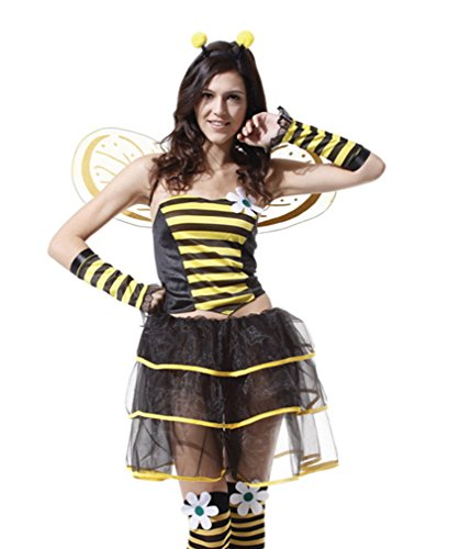 Spooktacular Women's Sassy Skirted Bumblebee Costume with Tulle Trim Dress, M -