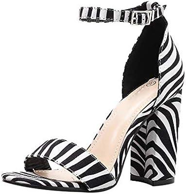 0f3c6fc56644e Sandalias de Tacon Alto para Mujer Rayas de Cebra Sandalias de Vestir con  Punta Abierta Correa de Tobillo Zapatos de Playa Verano 2019 Casual  Zapatillas ...