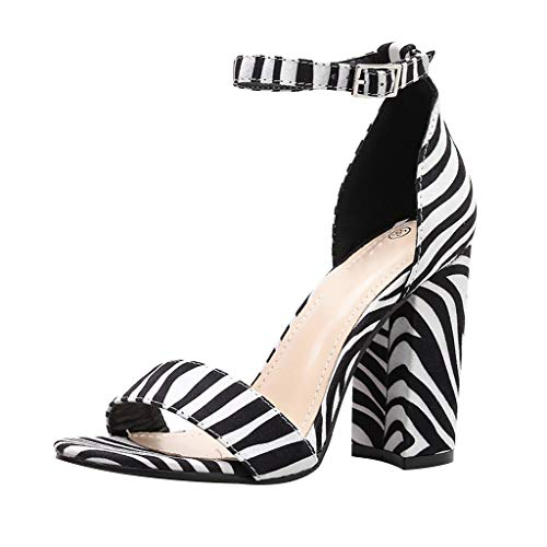 Tsmile Women High Heel Zebra Striped Sandals Leopard Print Peep Toe Sandals Buckle Strap Fashion Square Heel Shoes Black ()