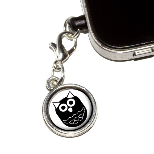 graphics-and-more-owl-black-hooter-anti-dust-plug-universal-fit-35mm-earphone-headset-jack-charm-for