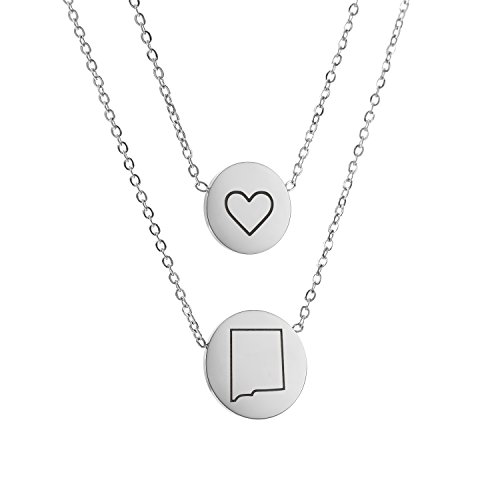 Double Strand New (State Pendant Necklace New mexico NM - Heart Disc Double Chain Stainless Steel)