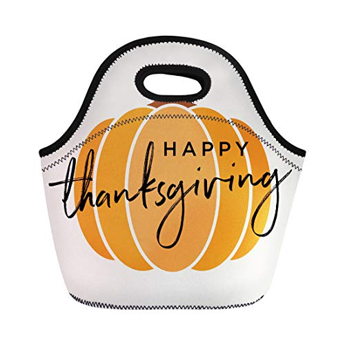 Semtomn Neoprene Lunch Tote Bag Hipster Happy Thanksgiving Pumpkin Fall Autumn Harvest Children Abstract Reusable Cooler Bags Insulated Thermal Picnic Handbag for Travel,School,Outdoors, Work -