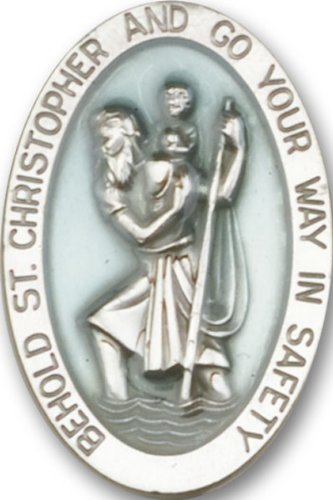 Antique Silver Tone St. Christopher Enameled Visor ()