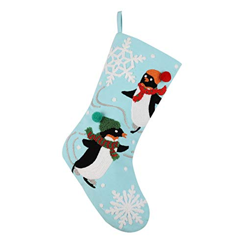 Alice Doria 21 Crewel Stitch Embroidery Christmas Stocking with 2 Skiing Penguins Pattern ...