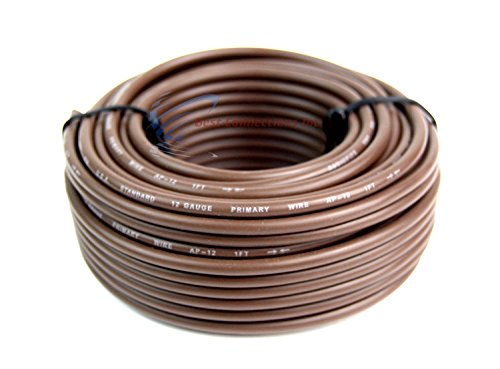- Audiopipe 12 Gauge 50' Feet Brown Car Audio Home Remote Primary Cable Wire LED