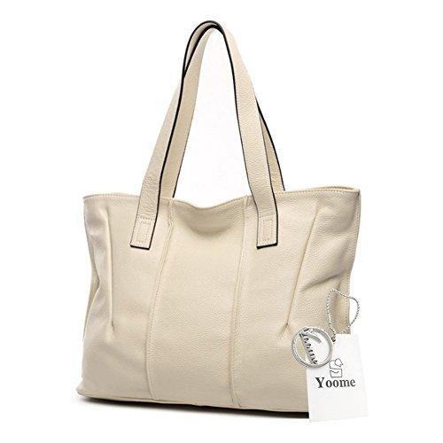 Yoome bolsos de piel de vaca para las mujeres bolsos de cuero real de la manija superior Vintage bolsos elegantes para las mujeres - Beige Beige