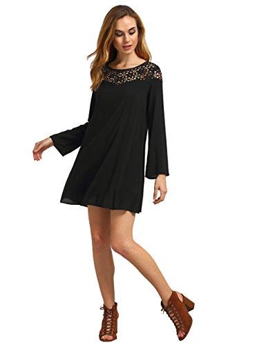 - Romwe Women's Crochet Lace Keyhole Back Long Sleeve Casual Short Shift Dress Black Large