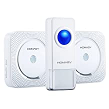 Homasy Portable Waterproof Wireless Doorbell Kit - 52 Chime Tones Operating at 1000ft Range