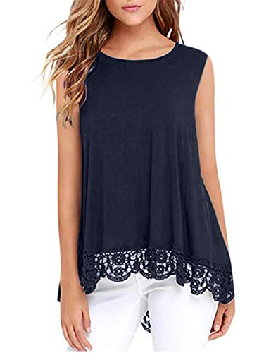DOSWODE Womens Tops Sleeveless Lace Trim O-Neck A-Line Tunic Blouse Shirts Navy Blue - Fit Mom T-shirt Standard