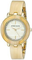 Anne Klein Women's AK/1972CMHN Swarovski Crystal Accented Dial Horn Resin Bangle Watch