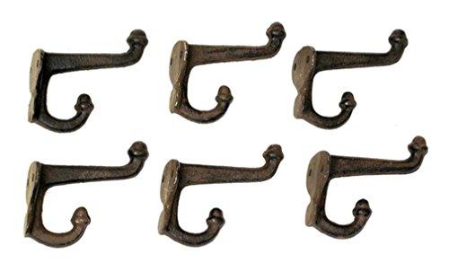 Iwgac Cast Iron Coat Hat Towel Hanging Antique Vintage Style Double Acorn Hook Rust Set of ()