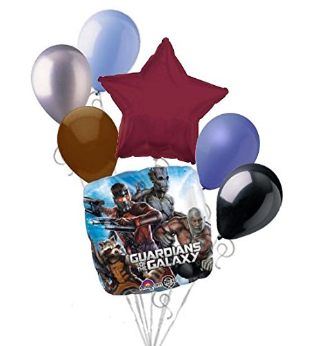 7 pc Guardians of Galaxy Balloon Bouquet Party Decoration Happy Birthday Super (Guardians Of The Galaxy Decorations)