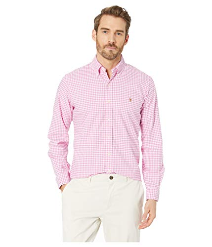 (Ralph Lauren Men Solid Sport Oxford Shirt (XL, RoseCheckered))