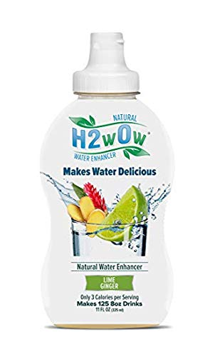 H2wOw Water Enhancer Drops - ORGANIC & Natural Extracts of Real Fruit - a Hint of Organic Stevia - Makes 768 oz of Delicious Lime Ginger Flavored Water