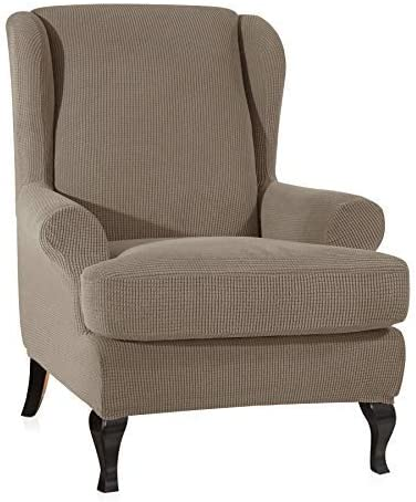 CHUN YI 2-Piece Stretch Jacquard Wing Chair Cover, Wing Back Wingback Armchair Chair Slipcovers with Arms Spandex Fabric Sofa Covers Furniture Protector(Sand-1)