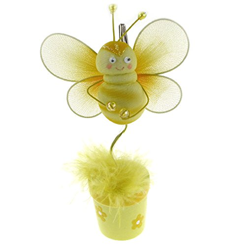 Flower Pot Place Card Holder (Homeford Bee Flower Pot Place Card Holder, 6-Inch CLOSEOUT (Yellow))