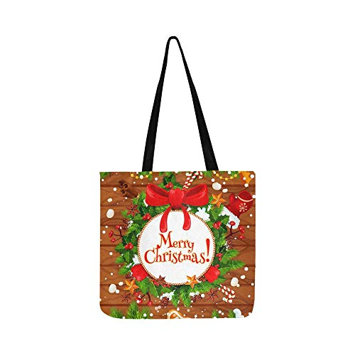 Christmas Tree Holly Wreath New Year Canvas Tote Handbag Shoulder Bag Crossbody Bags Purses For Men And Women Shopping Tote