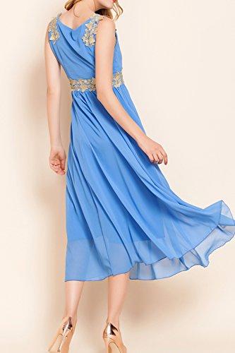 Mujeres Sin Mangas Vestido De Dama De Honor Vestido De Fiesta Largo Blue