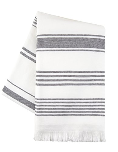 Sticky Toffee Hammam Cotton Beach Towel | Bath, Yoga, Fitness, Spa | Soft and Absorbent Terry | 65 in x 35 in | Gray