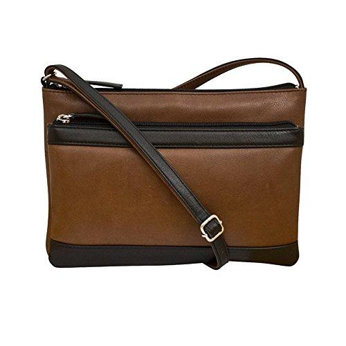ili 6028 Leather Multi Compartment Cross body Handbag (Toffee/Black)