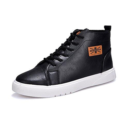 Mocassins Chaussures Pour Hommes Occasionnels Martin Outsole Plates À Lacets Chaussures De Cricket En Cuir Pu Haut Top Noir