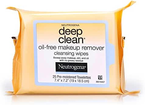 Neutrogena Deep Clean Oil-Free Makeup Remover Cleansing Face Wipes, 25 Count (Pack of 6)