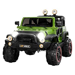 Uenjoy Ride on Cars 12V Children's Electric Cars Motorized Cars for Kids with Remote Control, 3 Speeds, Head Lights, Model HP-002, Green