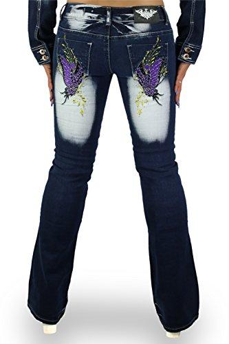 Sexy mujer pantalones vaqueros–Bootcut pantalones Crazy edad talla UK 6, 8, 10, 12, 14–EU 34, 36, 38, 40, 42 Navy blue / Plum / Yellow