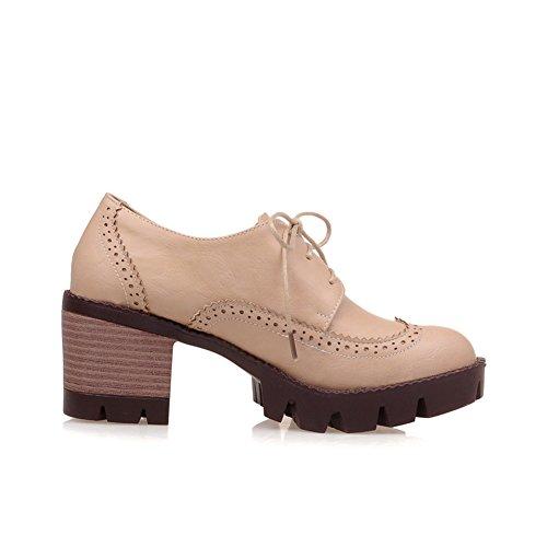 Lucksender Mujeres Lace Up Round Toe Chunky Tallado Bombas De Tacón Zapatos Beige