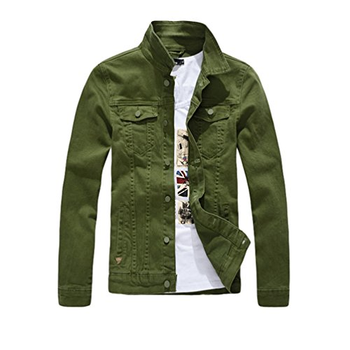 Classico Vintage Risvolto Verde Sottile Manica Tinta Giacca Jeans Di Lunga Jacket Unita Yiiquan Uomo qwBXI68T