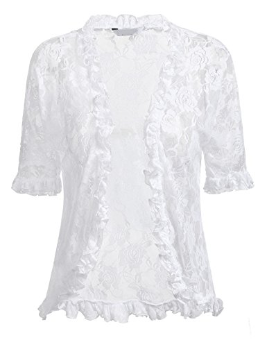 ELESOL Women Summer Cute Beach Bolero Shrug Classic Casual Floral Lace 3 4 Sleeve Tops White/XL -